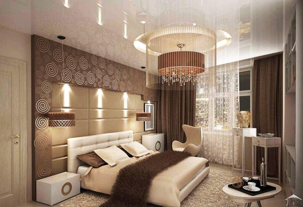 Дизайн гостиной в бежево-коричневых тонах